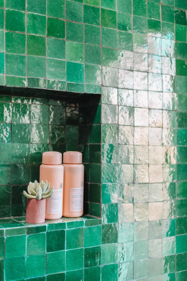 Green Zellige Tile in a Bathroom