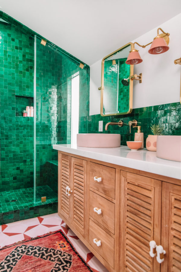 Colorful Green Bohemian Bathroom