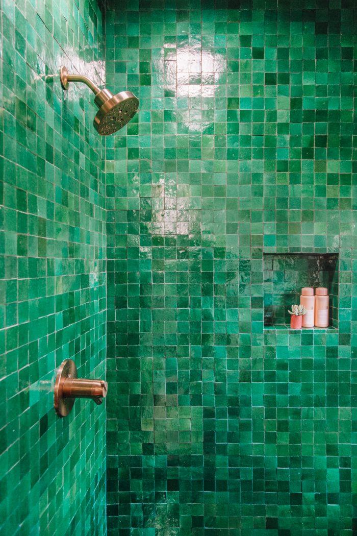 Green Zellige Tile Shower | Master Bathroom