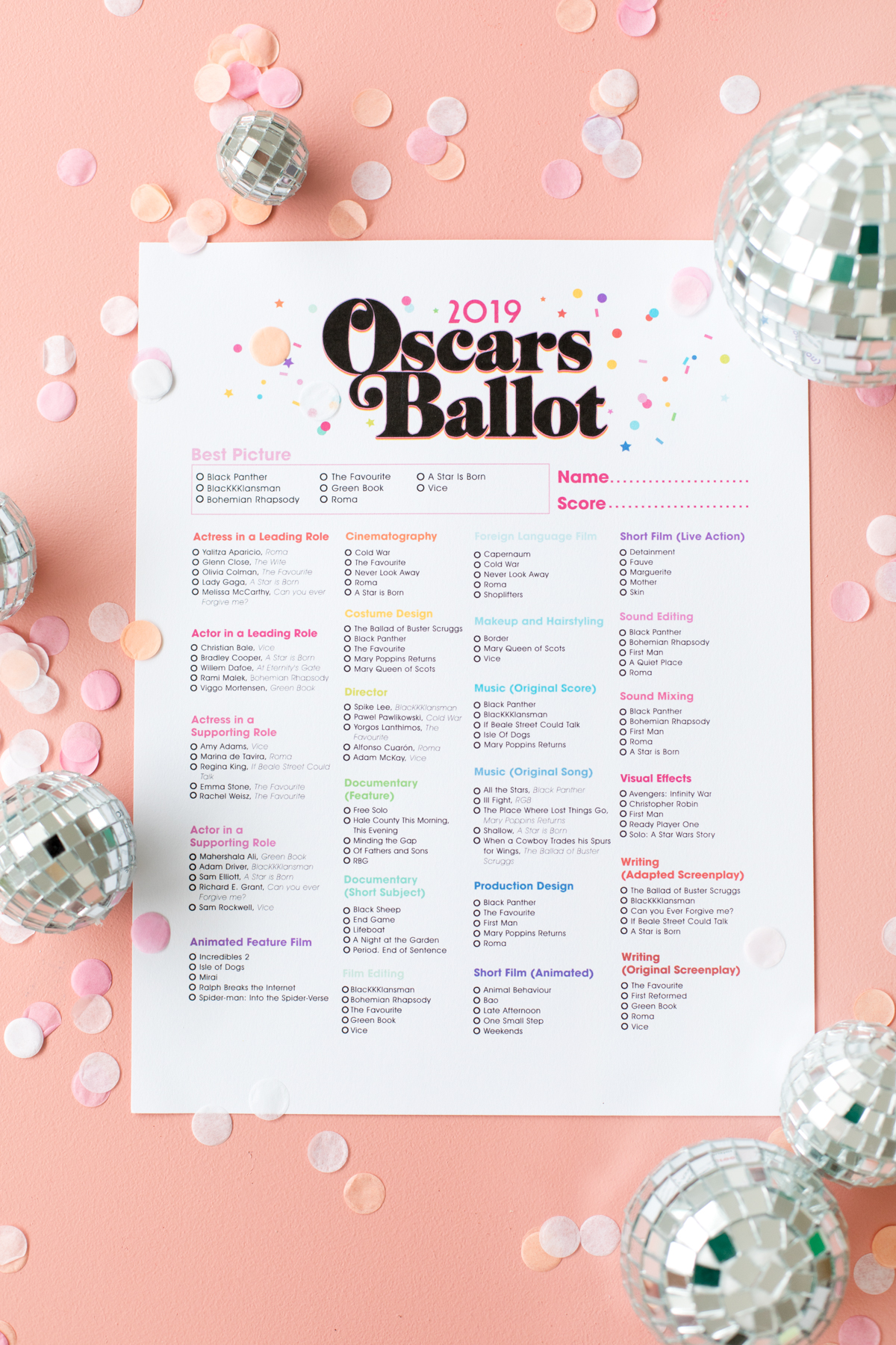 photograph regarding Oscar Ballots Printable identified as Absolutely free Printable 2019 Oscar Ballot - Studio Do-it-yourself