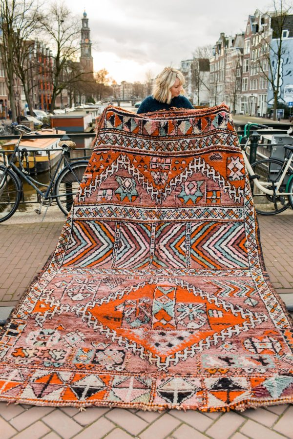 orange and aqua blue vintage boujaad rug