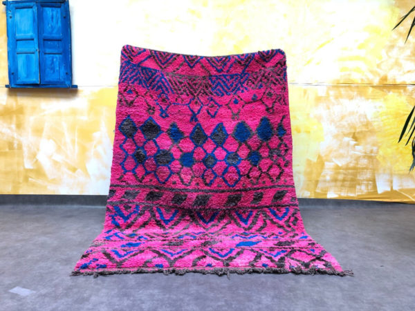 Hot Pink and Blue Moroccan Rug