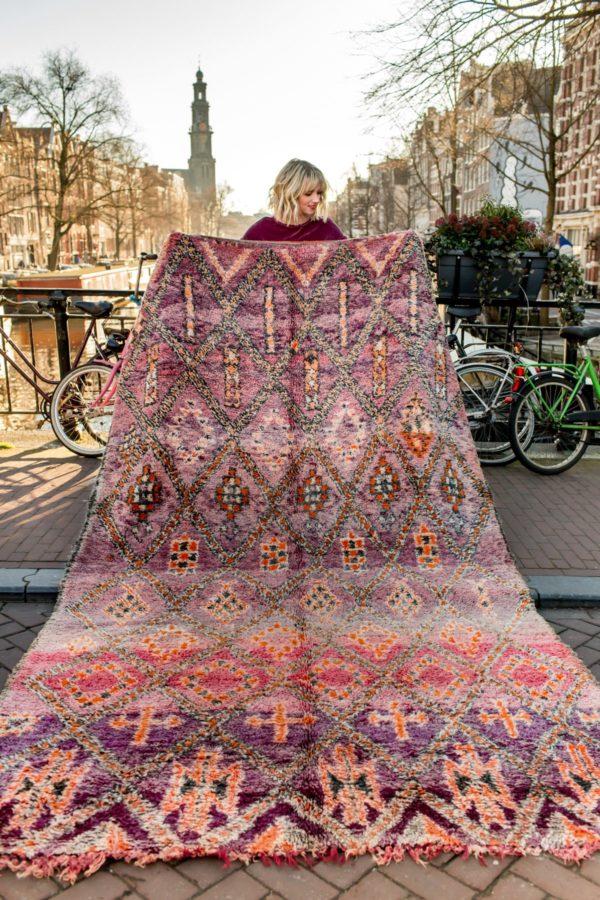 Purple and Orange Moroccan Rug