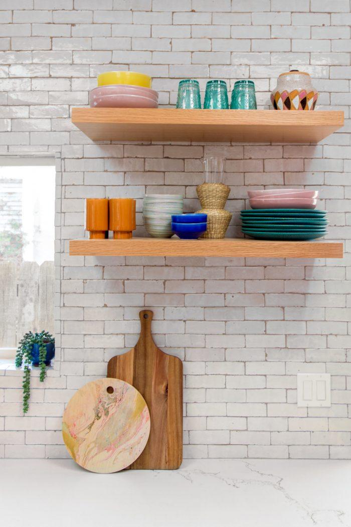 Pink California Kitchen Renovation - Open Shelving