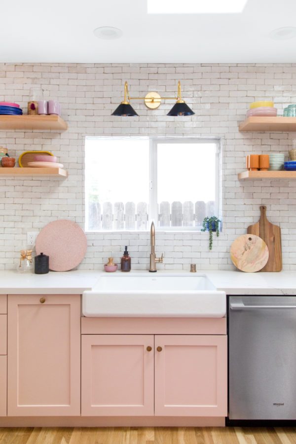 Pink California Kitchen Renovation - Open Shelving