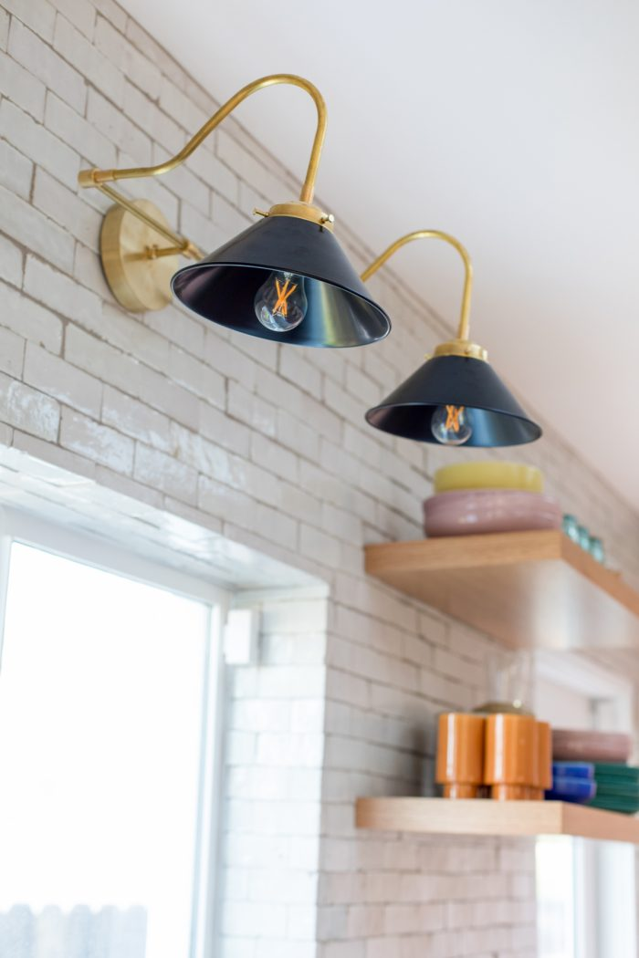 Pink California Kitchen Renovation - Black Sconce