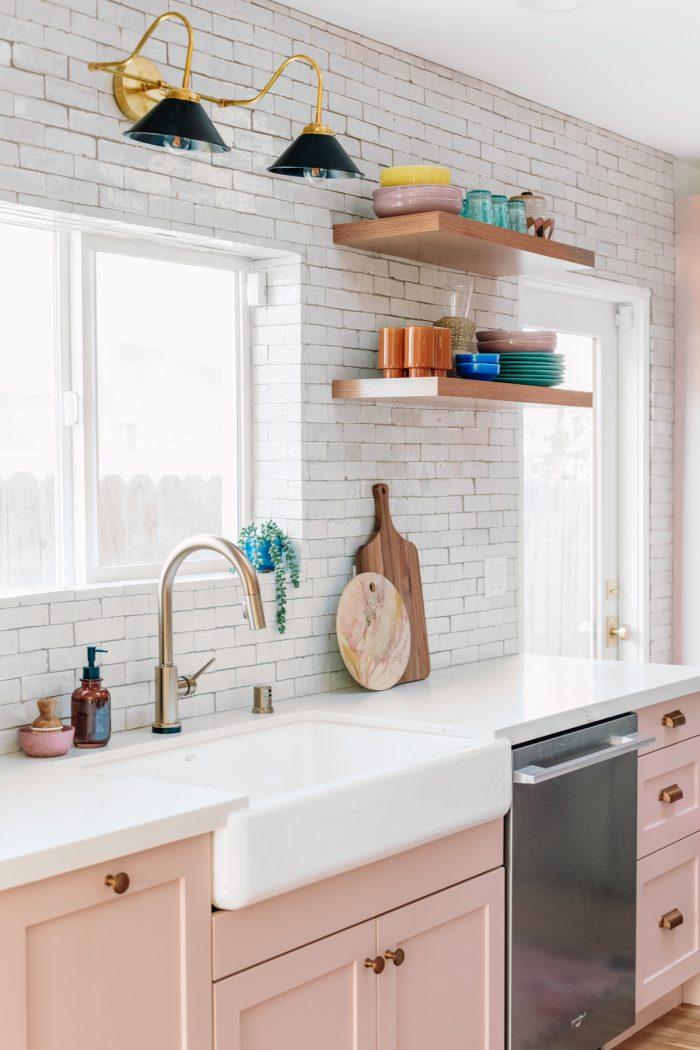 Zellige Tile in Pink Kitchen