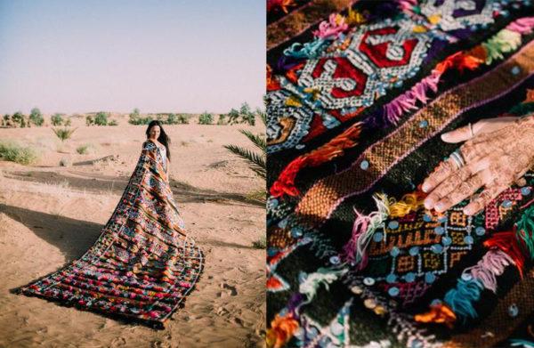 Black and Rainbow Moroccan Rug