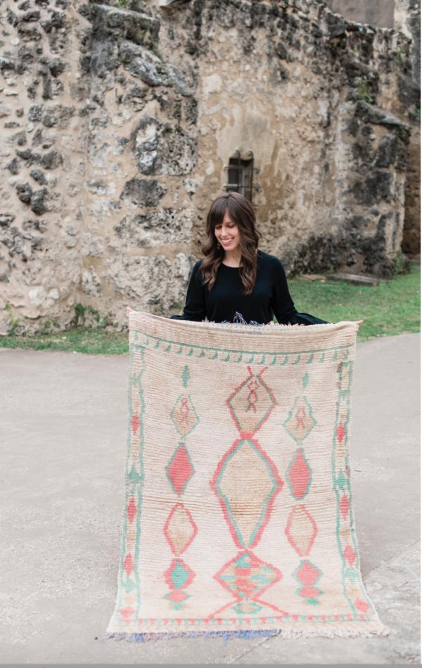Pastel Small Vintage Moroccan Rug