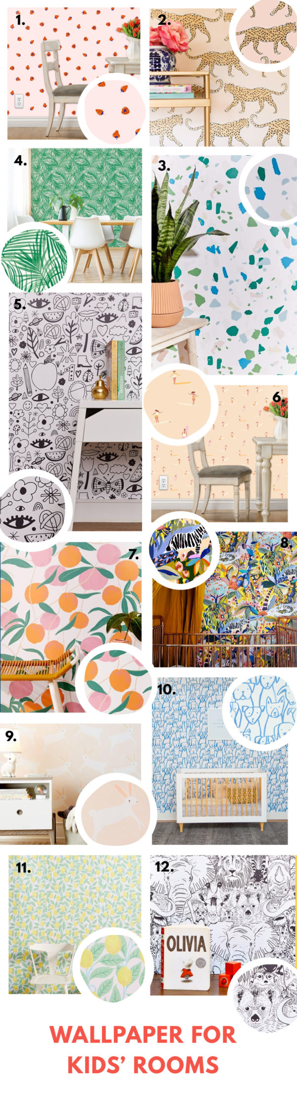 Bold Colorful Wallpaper for Kids Rooms