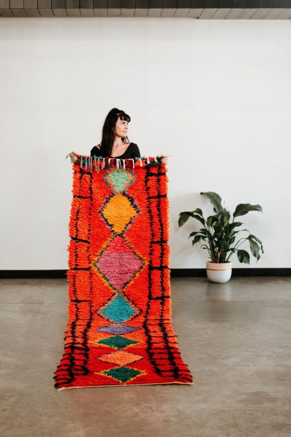 red orange vintage moroccan rug