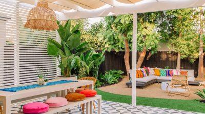 Bright Colorful Backyard with Pergola