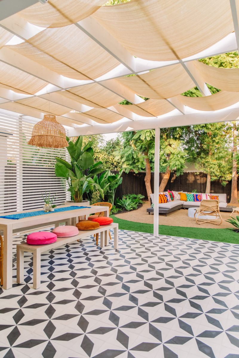 Bright Colorful Backyard with Pergola