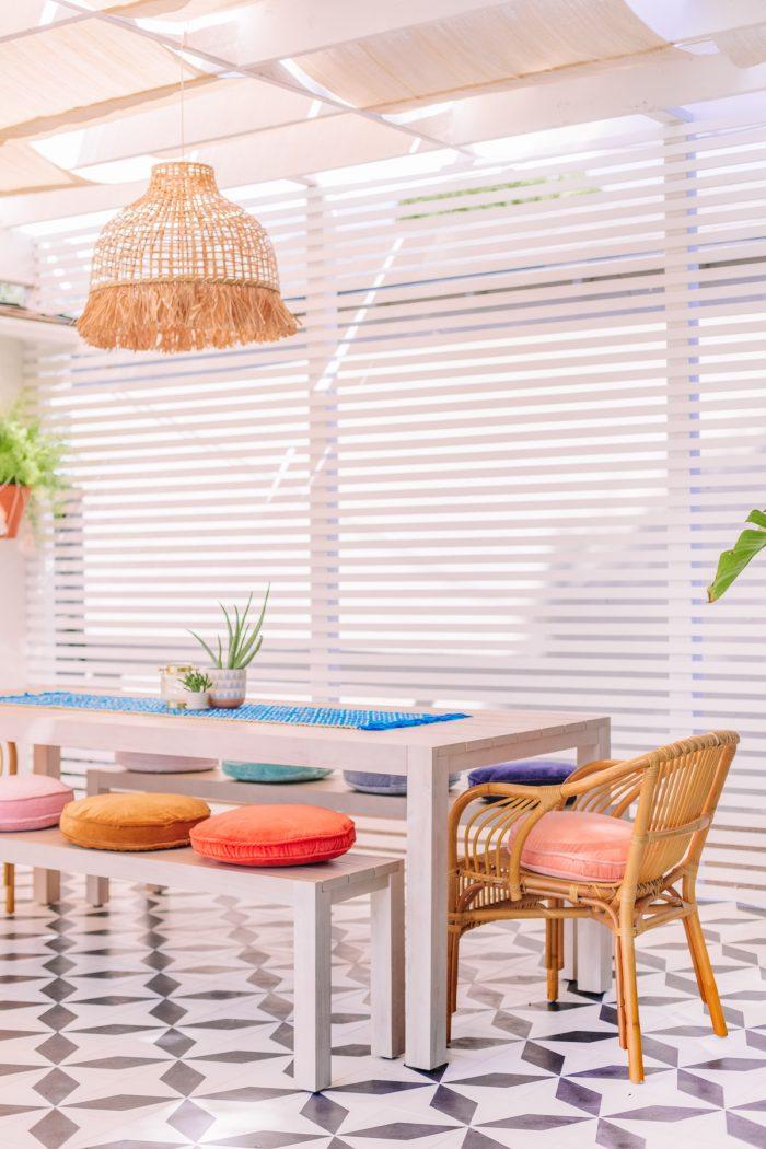 Bright Modern California Outdoor Dining Area