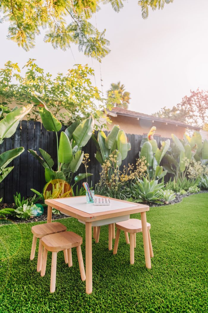 Colorful, Tropical Backyard Makeover with Artificial Turf