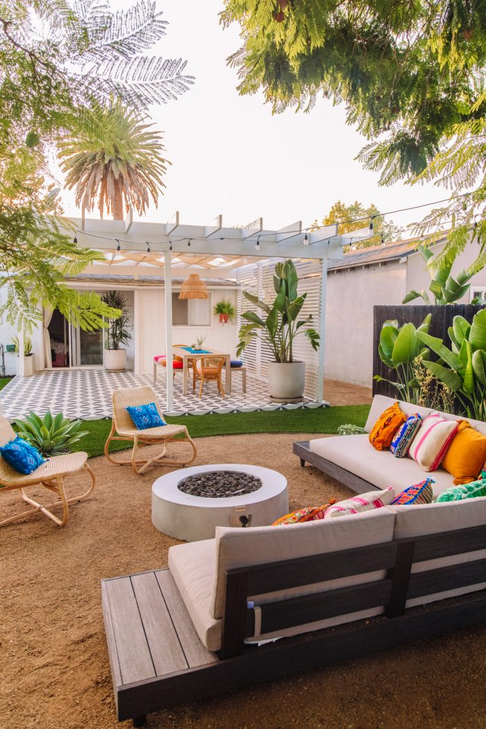 Colorful Outdoor Lounge Area with Fire Pit