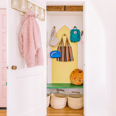 The Mindwelling: Our Colorful Entry Closet Makeover