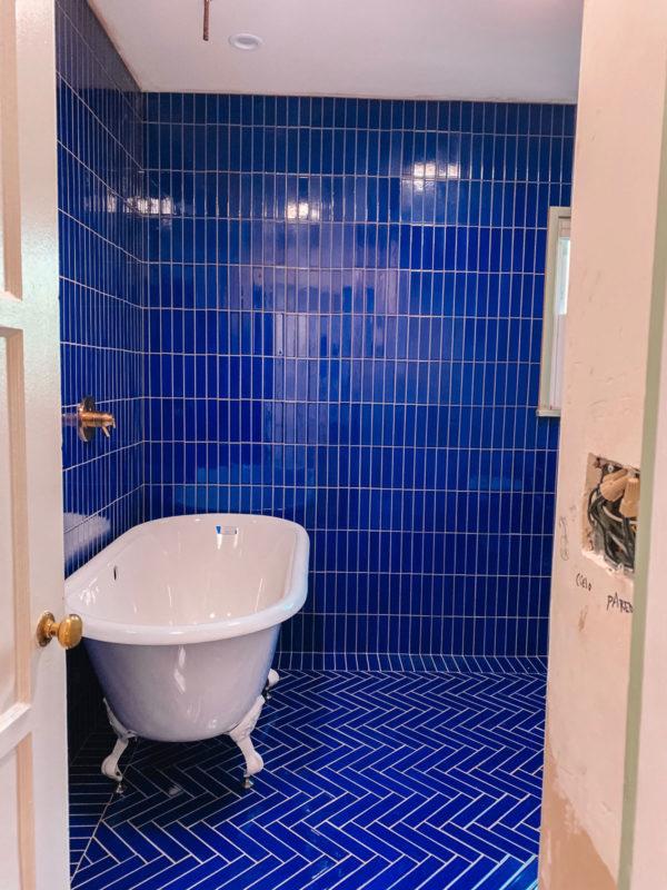 Cobalt Blue Bathroom with Clawfoot Tub