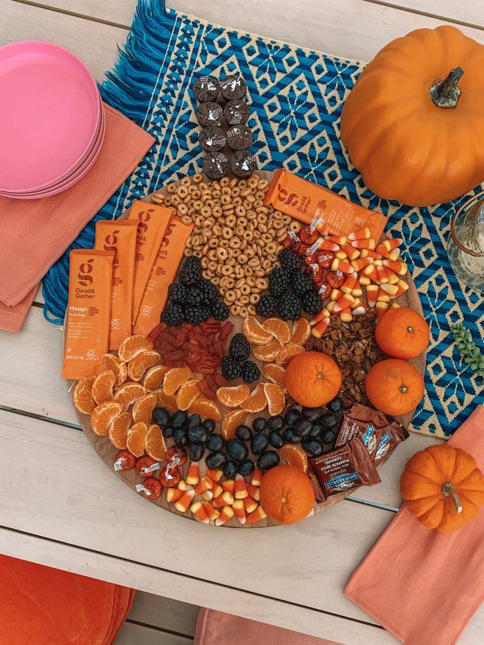 Jack-O-Lantern Halloween Toddler Snack Board