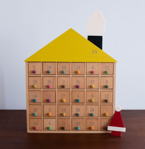 colorful wooden house advent calendar