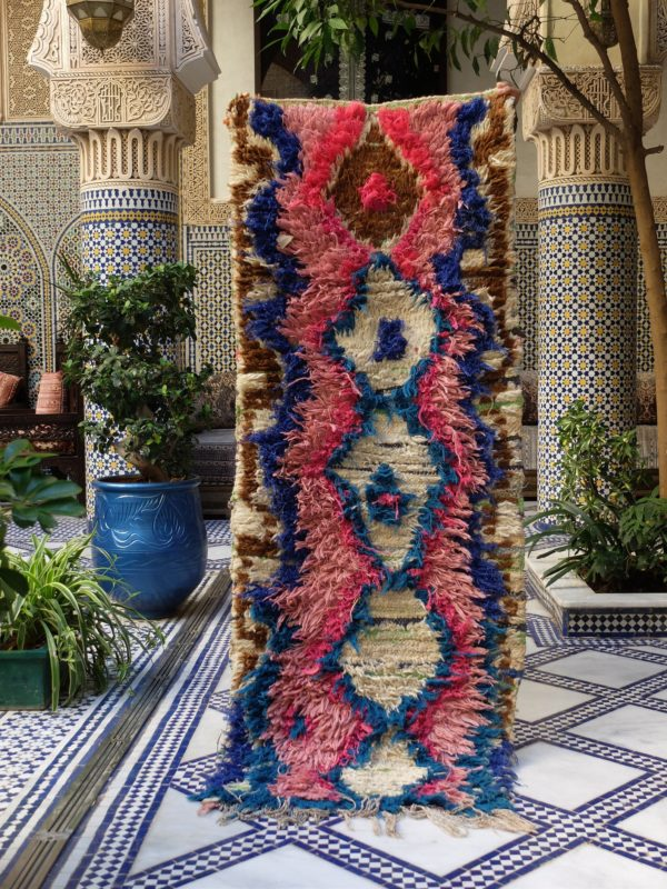 Pink and Blue Vintage Moroccan Runner