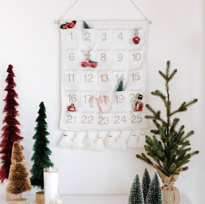 tassel advent calendar wall hanging