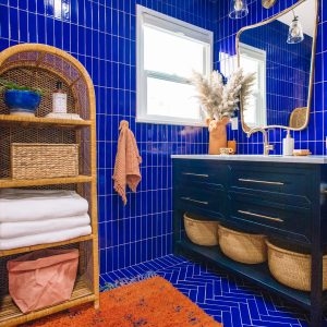 Blue and Terra Cotta Bathroom Renovation