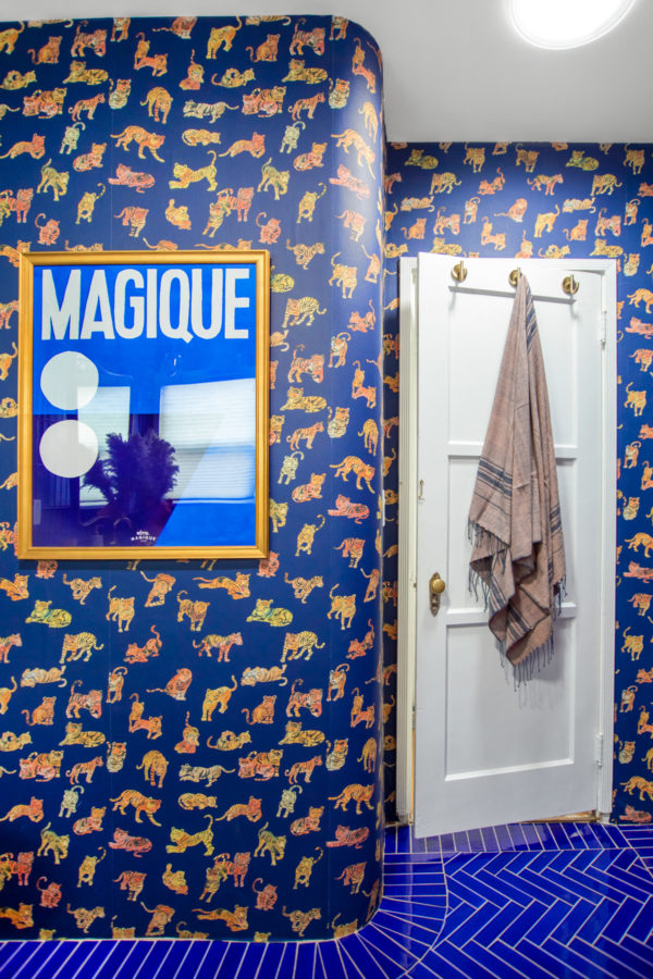 Blue and Terra Cotta Animal Themed Kids Bathroom