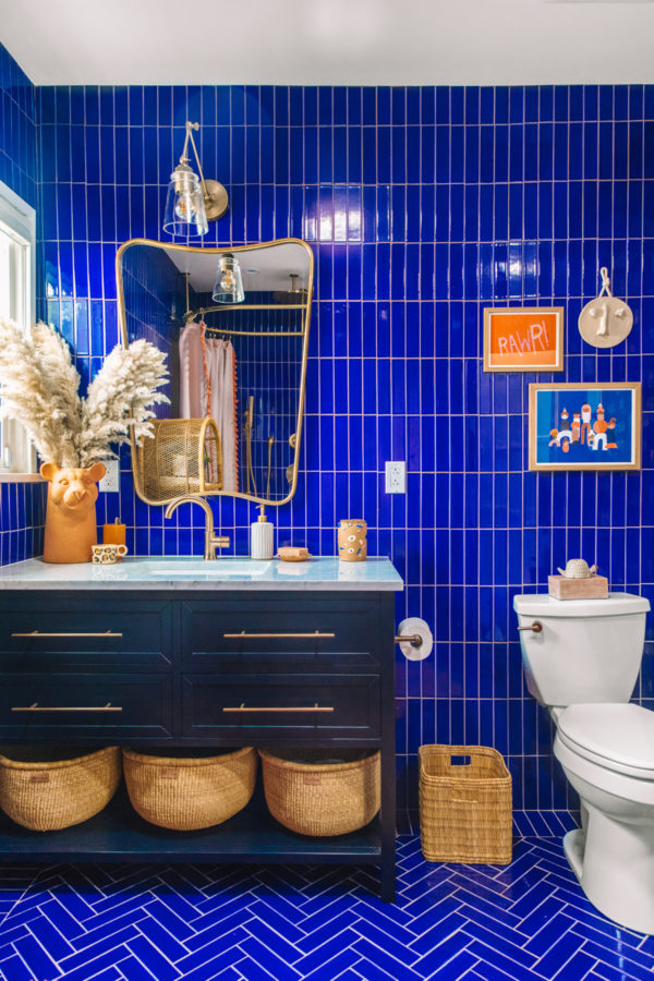 Blue and Terracotta Guest Bathroom Makeover