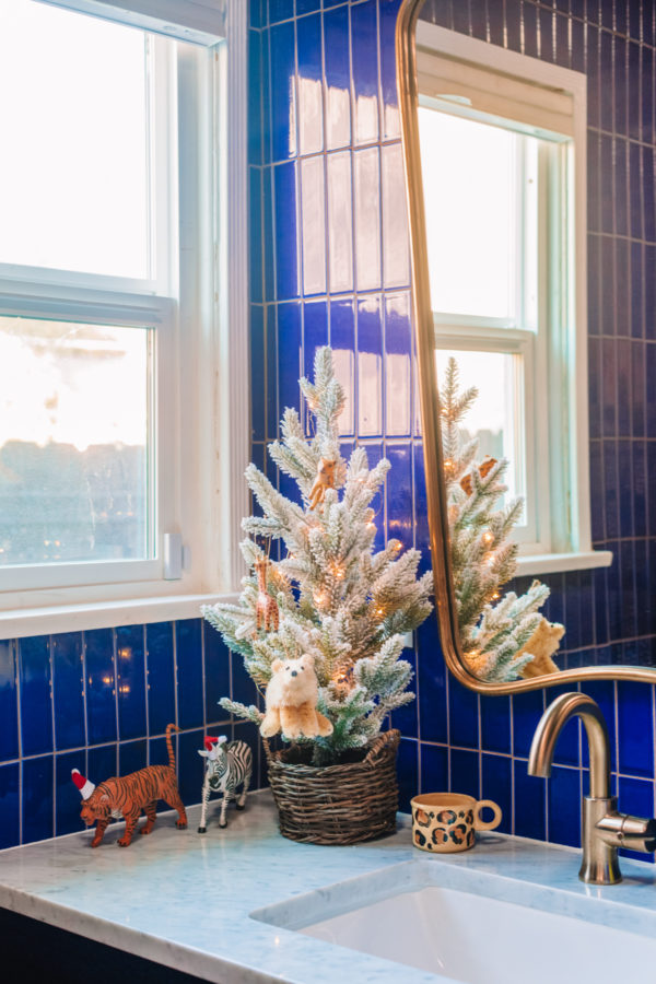 Animal Themed Christmas Tree in a Kids Bathroom