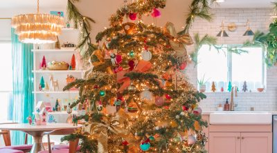 Christmas Garlands on Arches and Colorful Christmas Tree