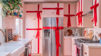 Kitchen Cabinets Wrapped like Presents