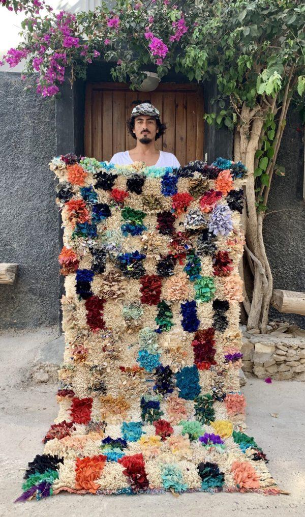 colorful shag vintage moroccan rug
