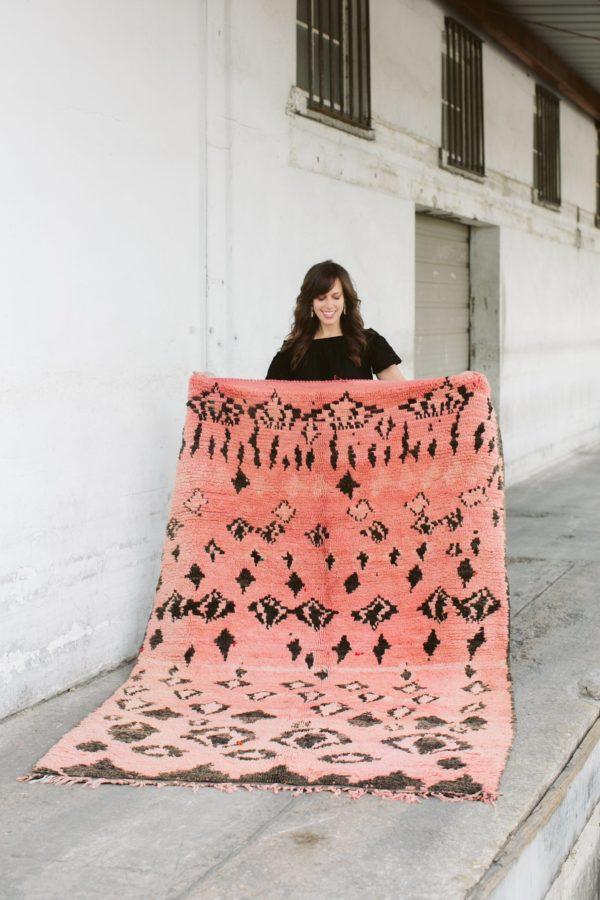 pink and black vintage moroccan rug
