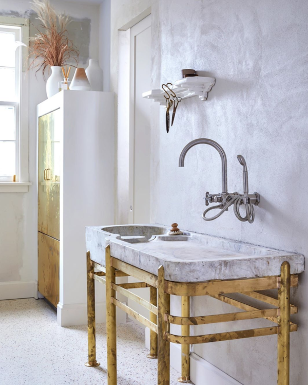 brass and marble sink