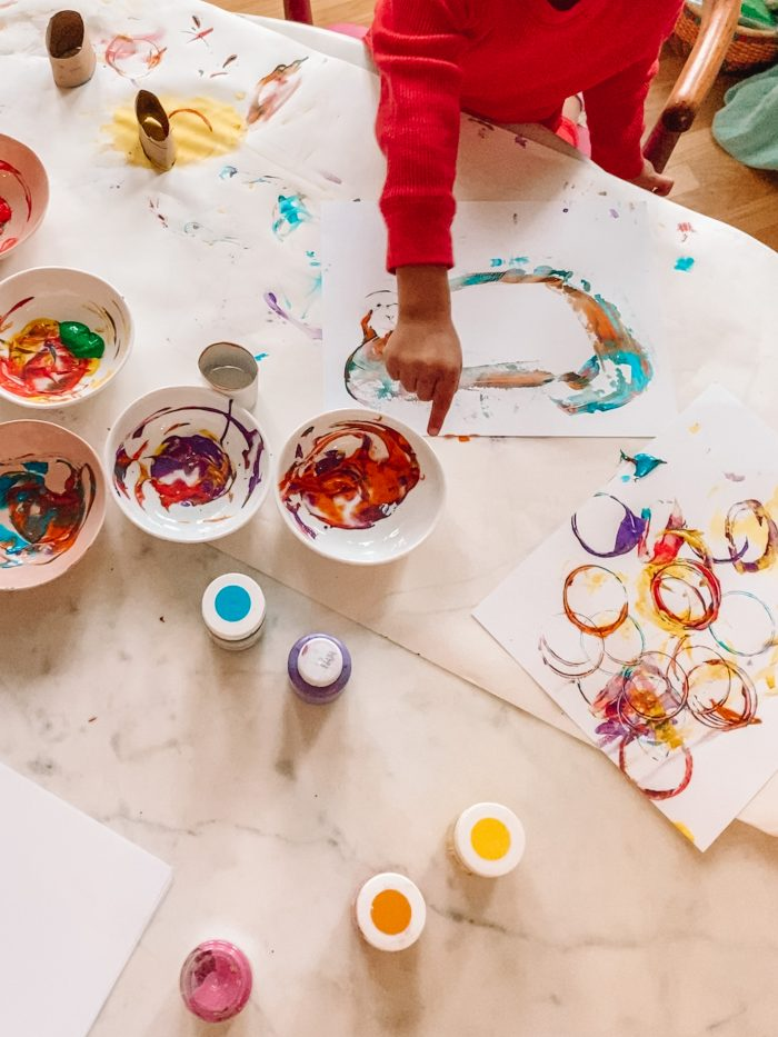 Circle Painting with Toilet Paper Rolls
