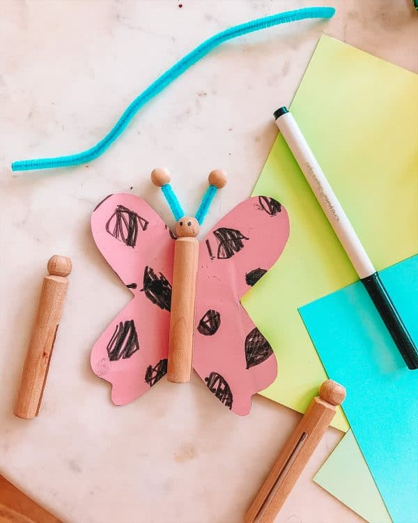 Toddler Clothespin Butterfly Craft