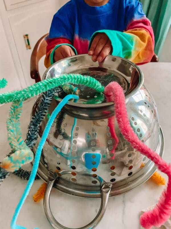 pipe cleaner colander UFO fine motor activity