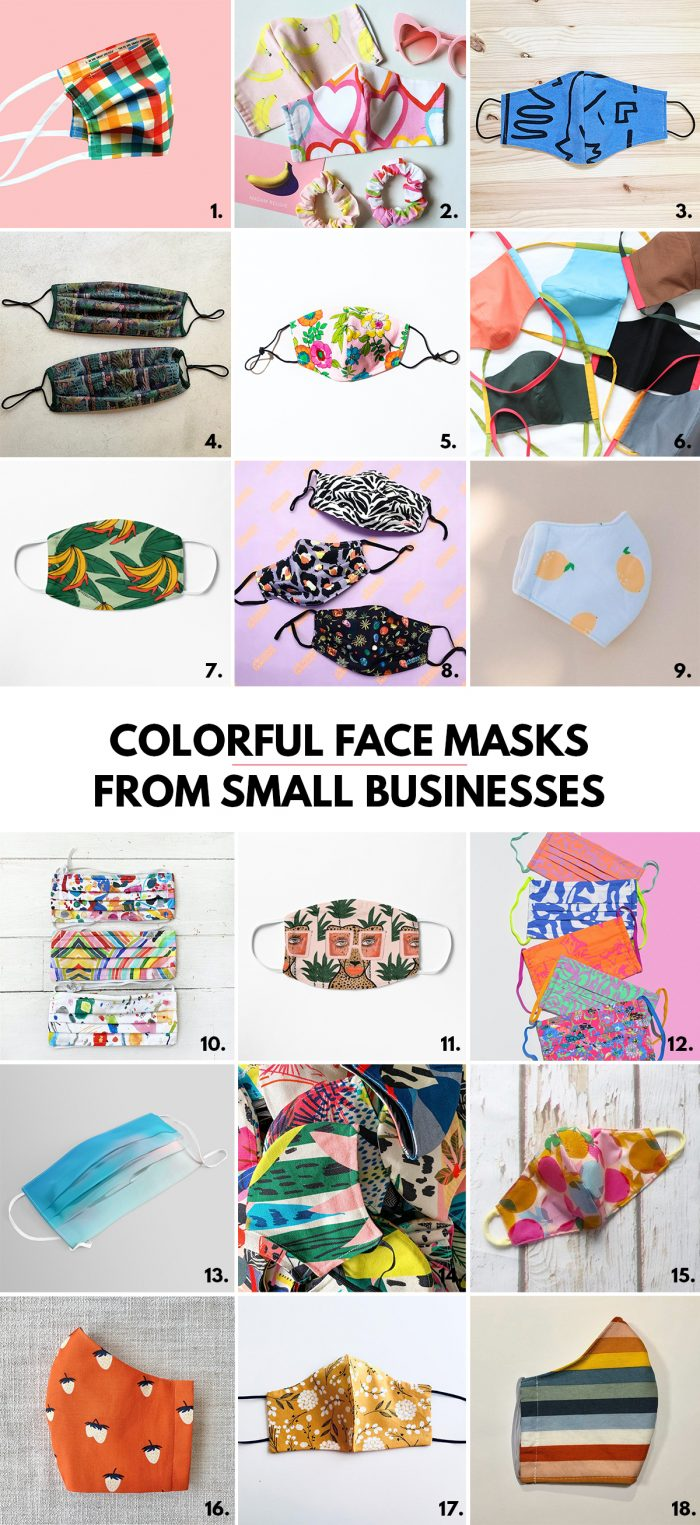 Colorful Adult Face Masks from Small Businesses