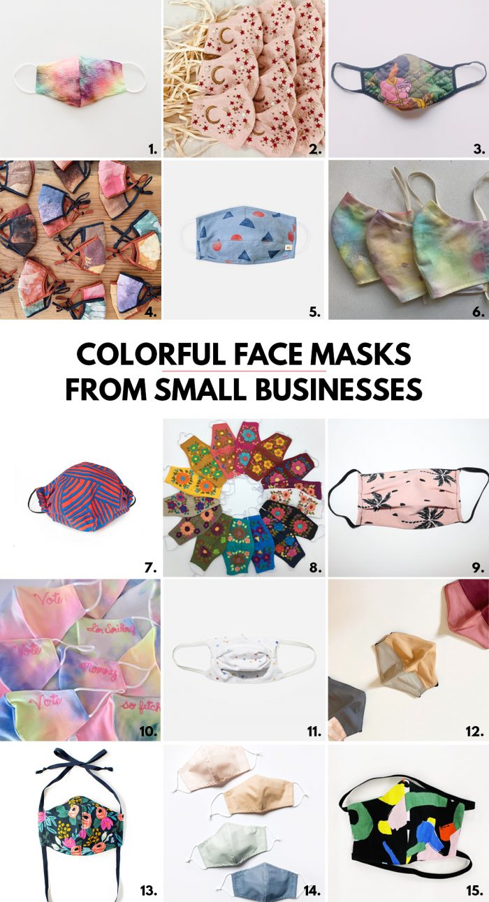 Colorful Face Masks for Adults from Small Businesses