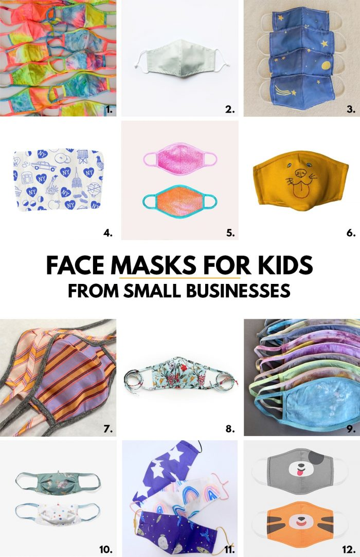 Colorful Kids Face Masks from Small Businesses