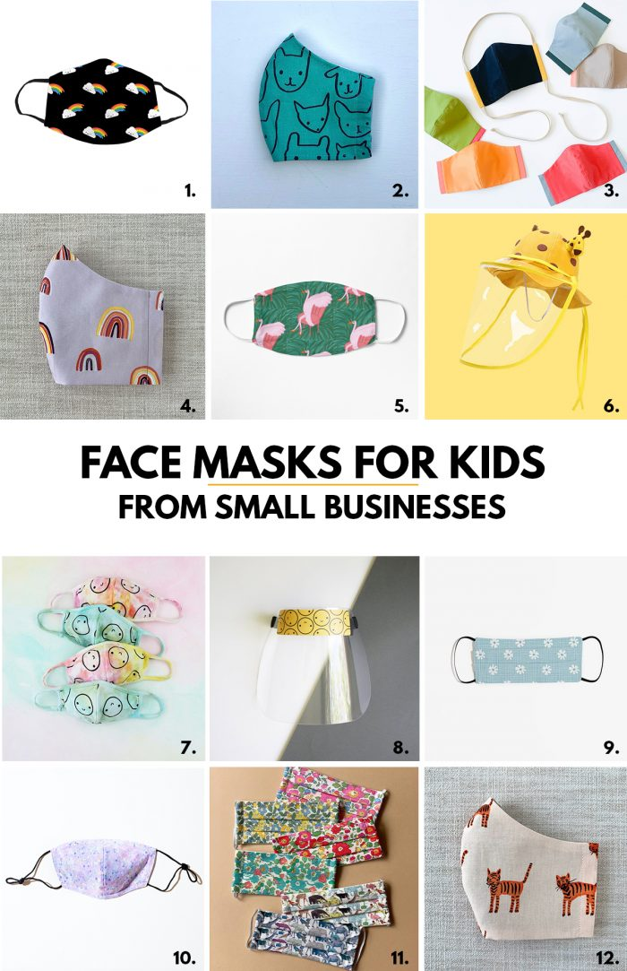 Toddler and Kids Face Masks from Small Businesses