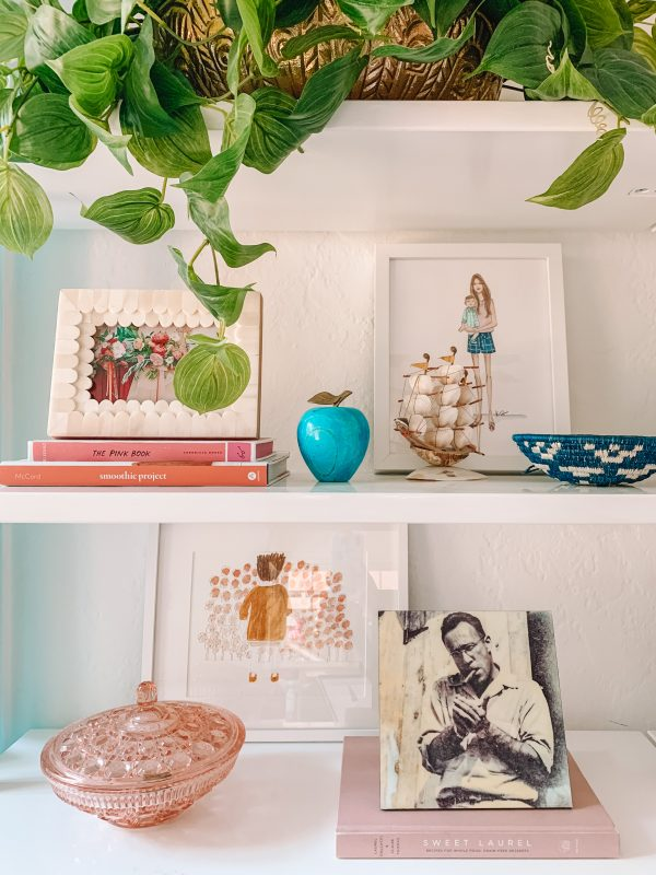 Colorful Dining Room Shelf Styling