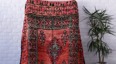 Pink and Teal Vintage Moroccan Rug