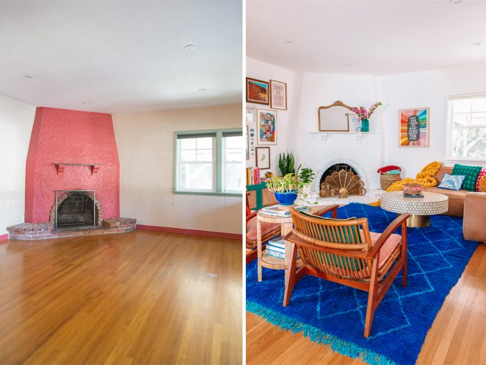 1930s Before and After Colorful Living Room