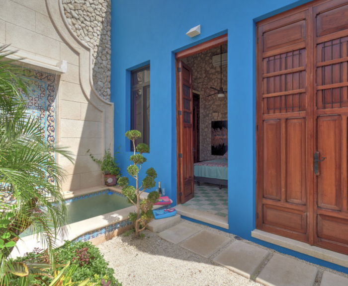 Colorful Home Courtyard in Yucatan Mexico