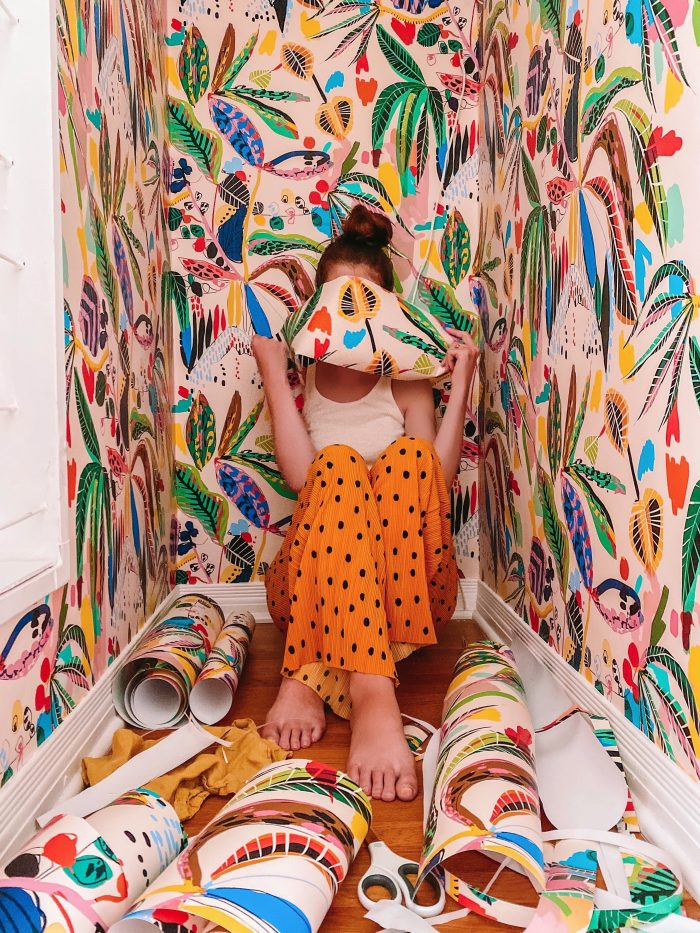 Colorful Tropical Wallpaper in a Closet