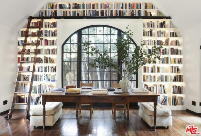 Library in a Tudor Home in Los Angeles