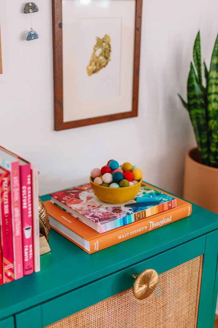 Colorful Books on an IKEA Hack Media Console