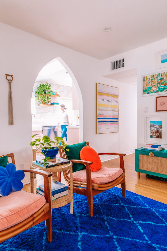 Colorful Living Room with Blue Rug